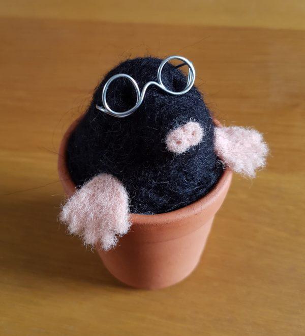 Mole-in-a-plant-pot