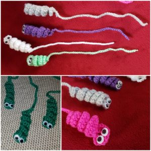 Crochet Worm Bookmark
